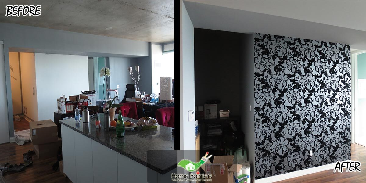 before after accent wallpaper contractor Mississauga